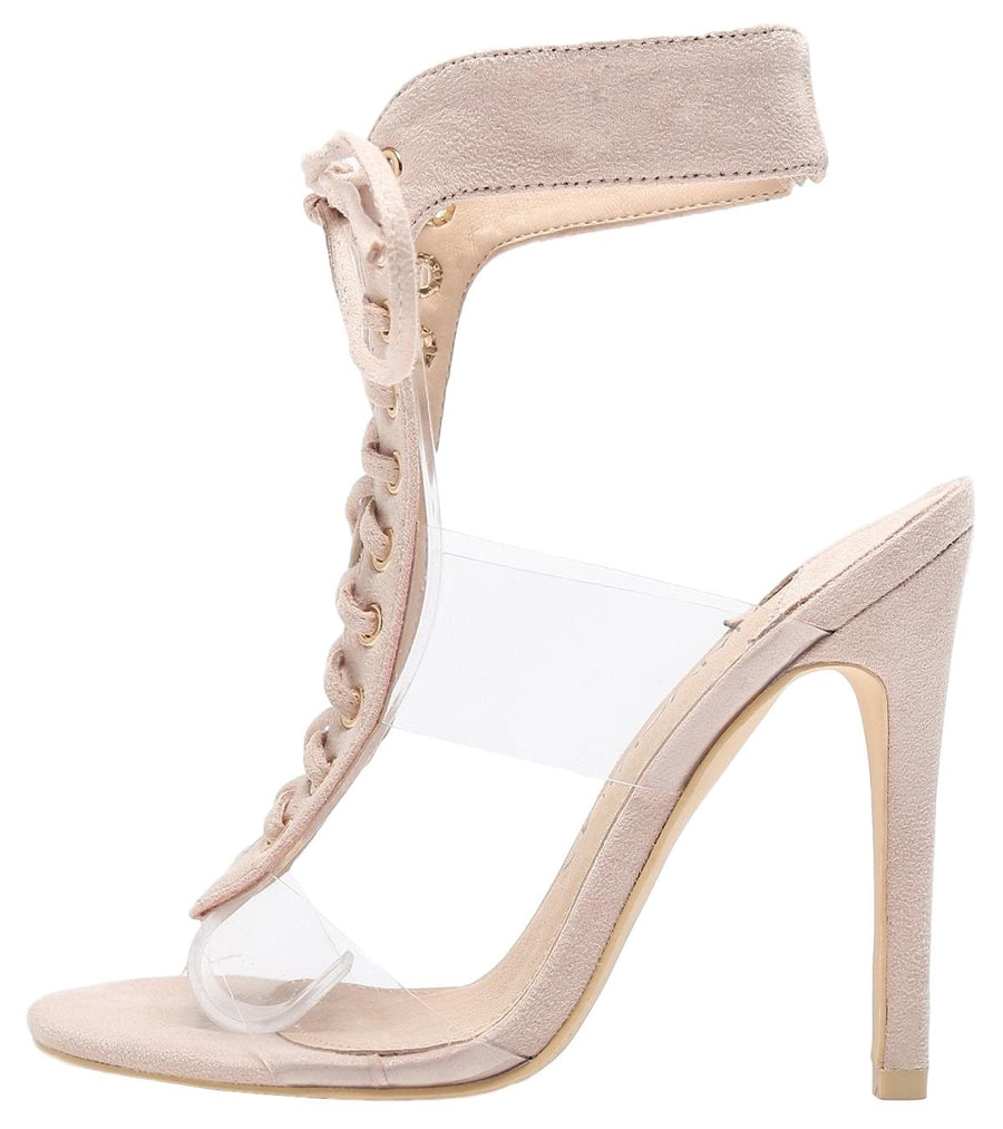 213-77 Lucite Clear PVC Open Toe Lace Up Stiletto High Heel Sandals