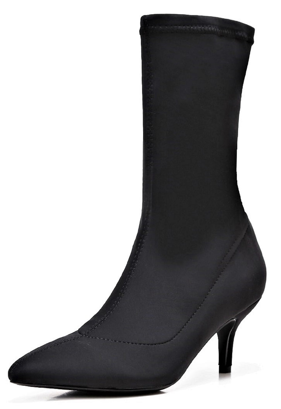 224-1 Elastic Stretchy Sock Ankle High Boots Kitten Heel Pointed Toe Black