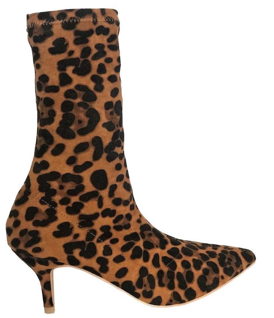 224-1 Elastic Stretchy Sock Ankle High Boots Kitten Heel Pointed Toe Leopard