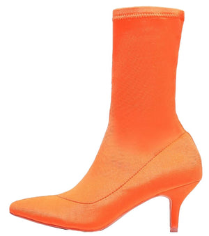 224-1 Elastic Stretchy Sock Ankle High Boots Booties Kitten Heel Pointed Toe Orange