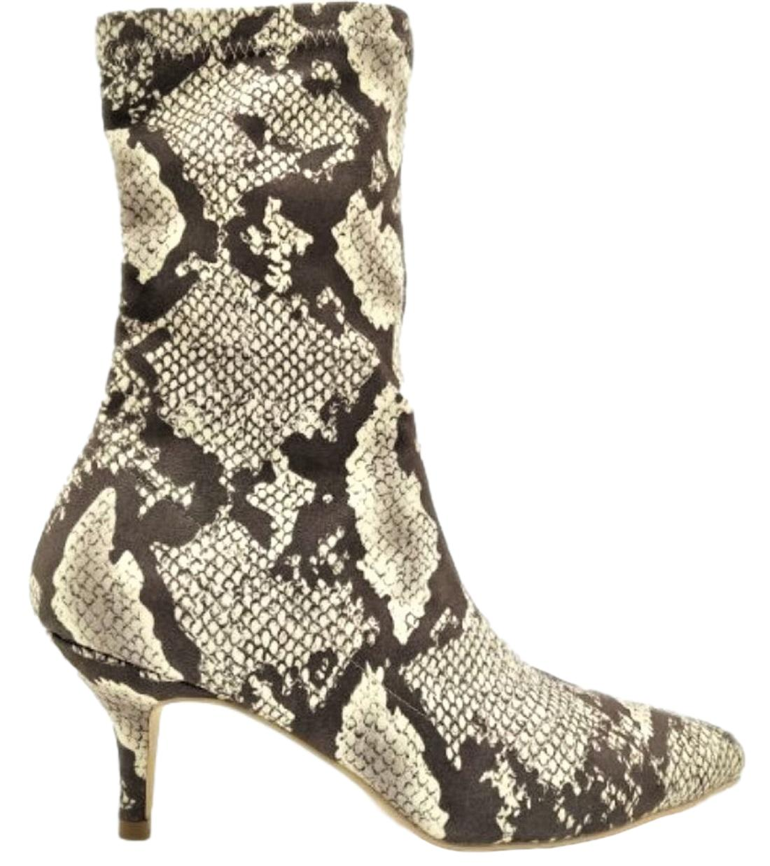 224-1 Elastic Stretchy Sock Ankle High Boots Booties Kitten Heel Pointed Toe Snake Print