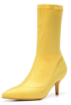 224-1 Elastic Stretchy Sock Ankle High Boots Kitten Heel Pointed Toe Yellow