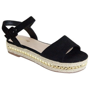 Telling Mary Jane Espadrille Flatform Open Toe Gladiator Sandal Black