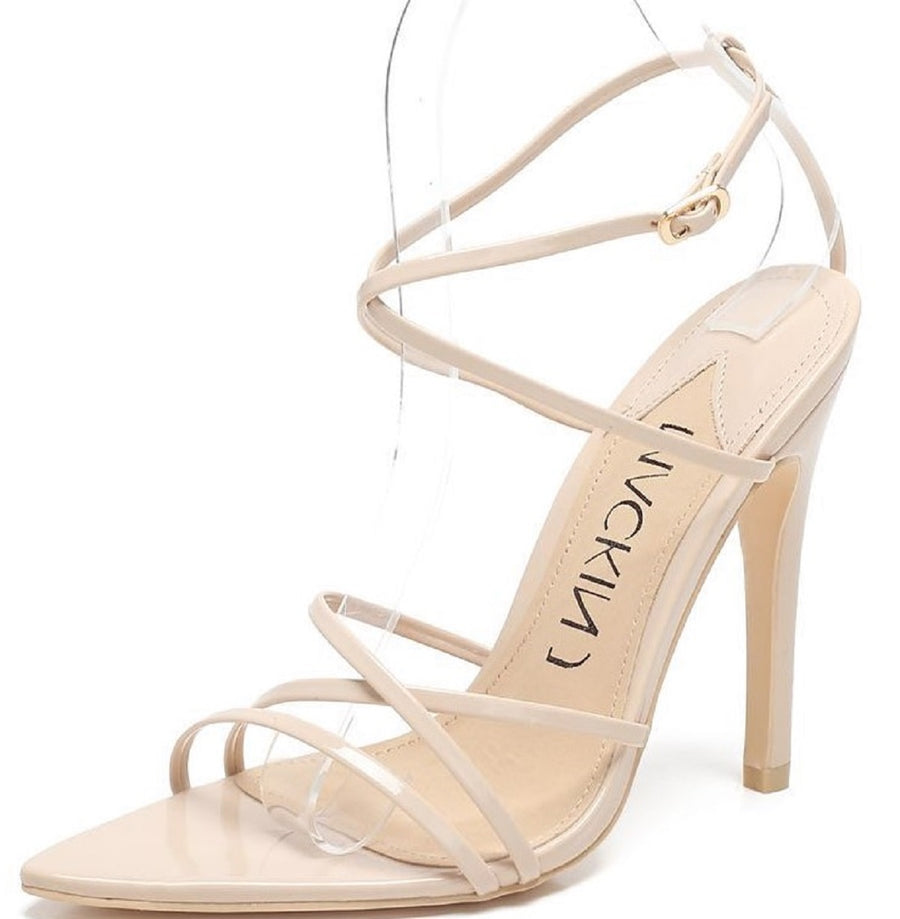 294-9 Strappy Patent Shiny Triangle Pointed Open Toe Stiletto High Heel Gladiator Sandal Nude