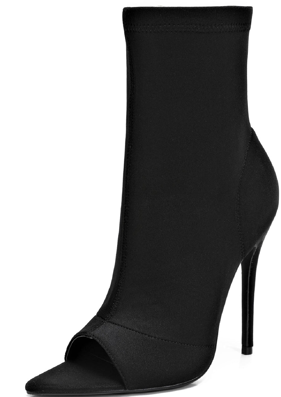 320-1 Women Pointed Pointy Triangle Toe Elastic Stretch Pull On Stiletto Heel Ankle Boots Booties Black