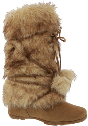 Talia-Hi Women Mukluk Faux Fur Boot Mid Calf Winter Snow Camel