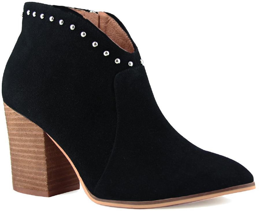 Aspen-03 Women Western Studs Pointed Toe Block Heel Side Zipper Ankle Boots Black