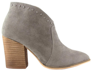 Aspen-03 Women Western Studs Pointed Toe Block Heel Side Zipper Ankle Boots Gray
