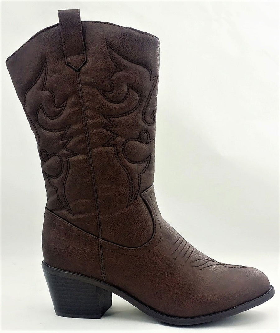 BDW-14W Western Cowboy Cowgirl Mid Calf Pointed Toe Stitched Boots Brown