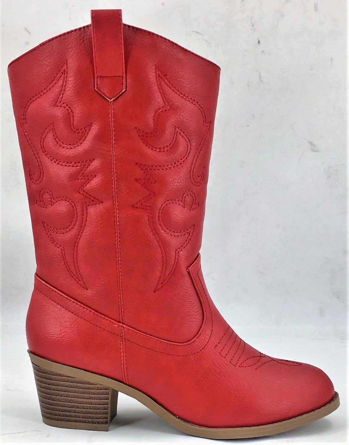 BDW-14W Western Cowboy Cowgirl Mid Calf Pointed Toe Stitched Boots Red