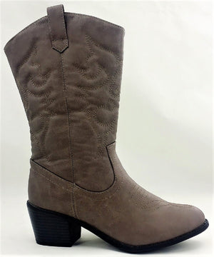 BDW-14W Western Cowboy Cowgirl Mid Calf Pointed Toe Stitched Boots Taupe