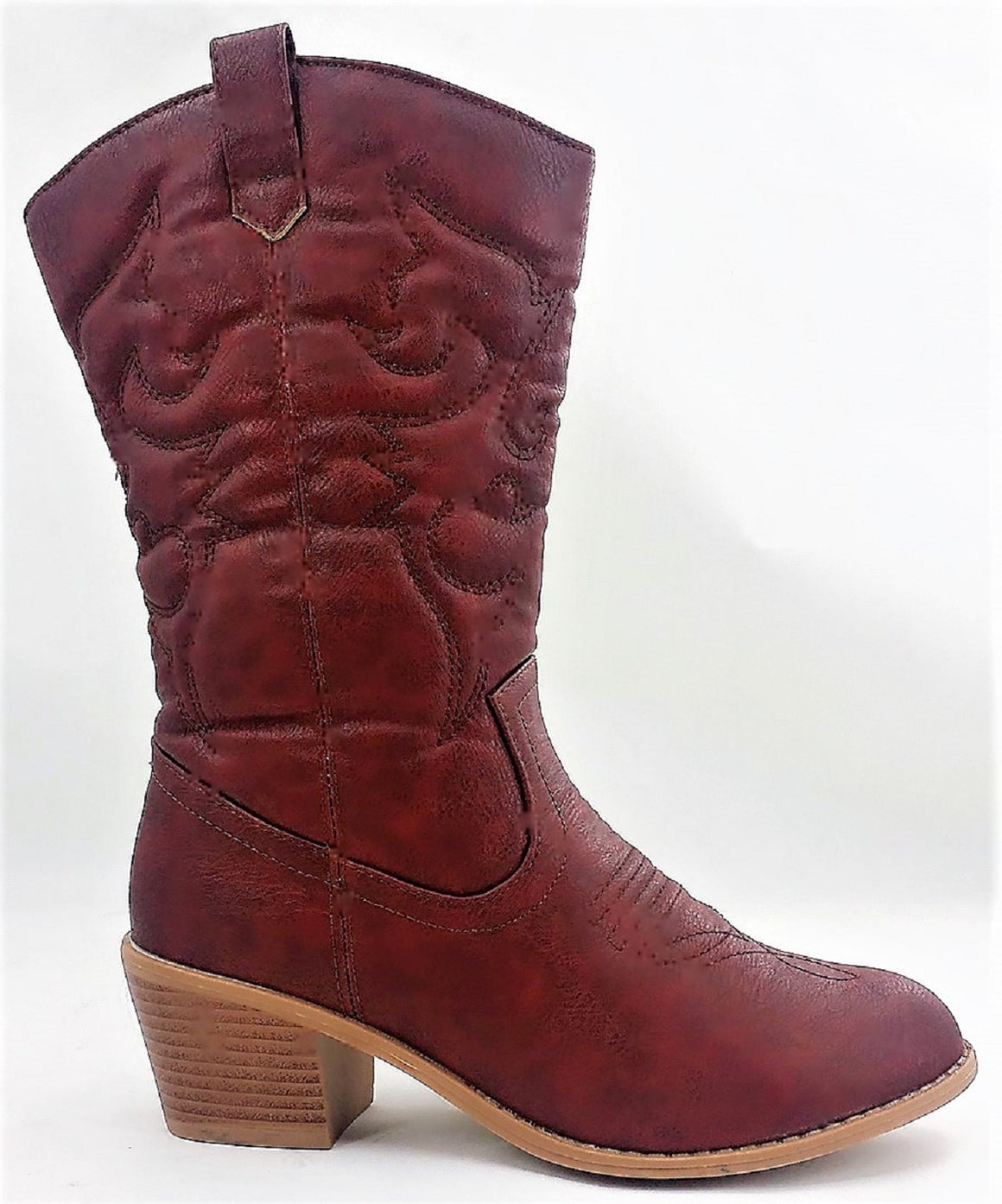 BDW-14W Western Cowboy Cowgirl Mid Calf Pointed Toe Stitched Boots Wine