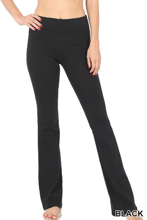 Zenana Women Plus Size Fold Over Waist Cotton Stretch Flare Leg Boot Cut Yoga Pants Leggings Black
