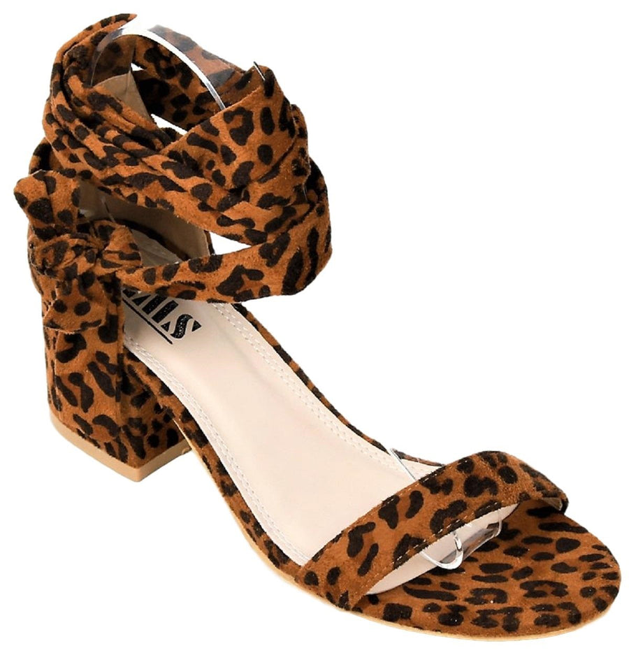 Emily-7 Tie Up Block Low Heel Gladiator Open Toe Sandal Leopard