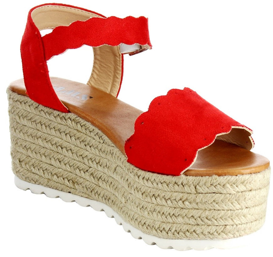 Emma-23 Mary Jane Espadrille Platform Wedge Flatform Open Toe Sandal Red