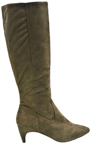 Fera-21 Women Knee High Kitten Low Heel Pointed Toe Side Zipper Boot Taupe