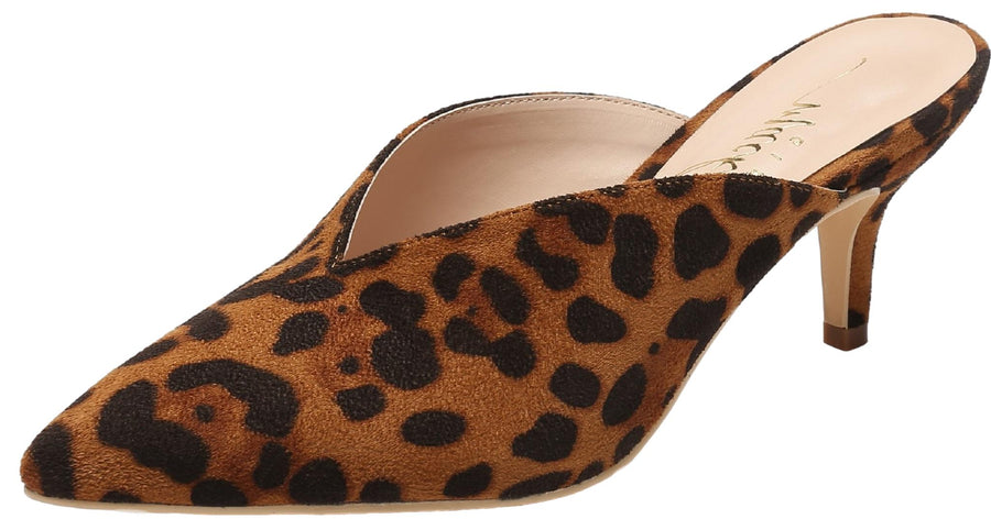 G224-1 Women Pointed Toe Slip On Kitten Low Heel Mules Pumps Slides Leopard
