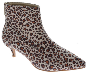 Harmoni-8 Women Patent Pointed Toe Kitten Low Heel Ankle Booties Boots Leopard