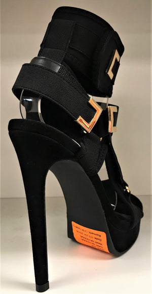 Keeman Platform Stiletto High Heel Open Toe Strappy Velcro Closure Black