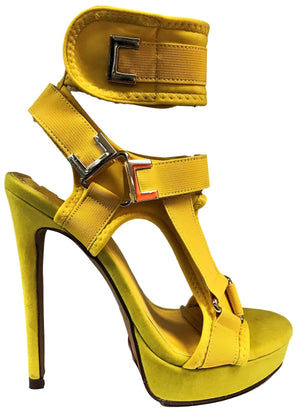 Keeman Platform Stiletto High Heel Open Toe Strappy Velcro Closure Yellow