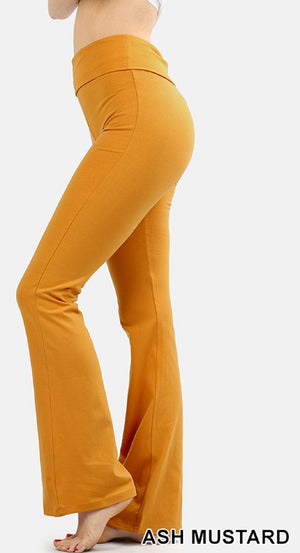 Zenana Women Fold Over Waist Cotton Stretch Flare Leg Boot Cut Yoga Pants Leggings Ash Mustard