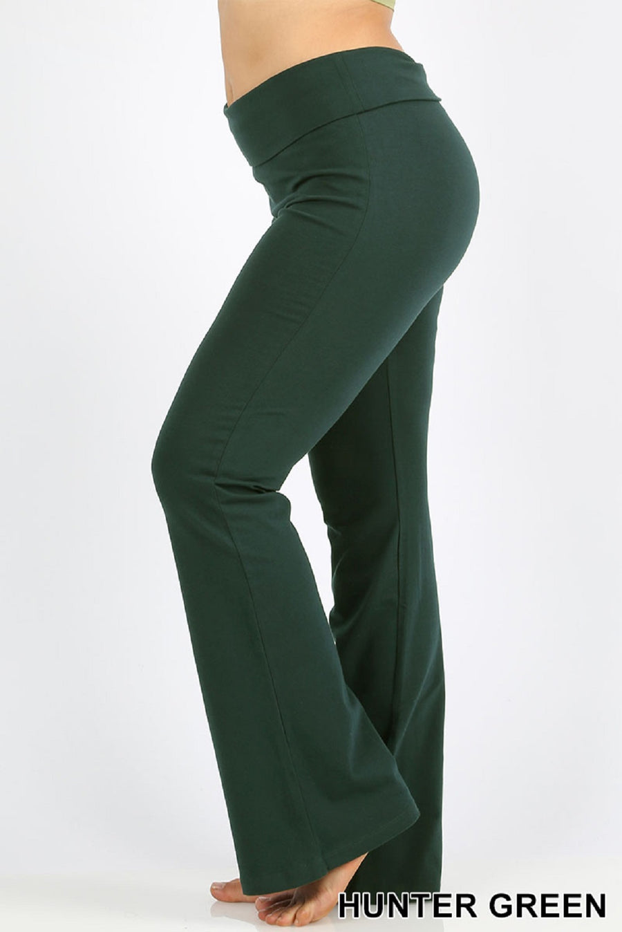 Zenana Women Fold Over Waist Cotton Stretch Flare Leg Boot Cut Yoga Pants Leggings Hunter Green