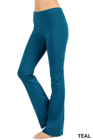 Zenana Women Fold Over Waist Cotton Stretch Flare Leg Boot Cut Yoga Pants Leggings Teal
