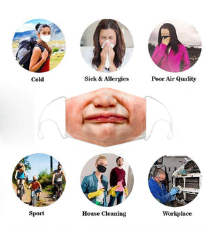 Face Mouth Nose Mask Cover Protection Reusable Cotton Blend Five Layer Filter Included Adjustable One Size Unisex Baby Face Design