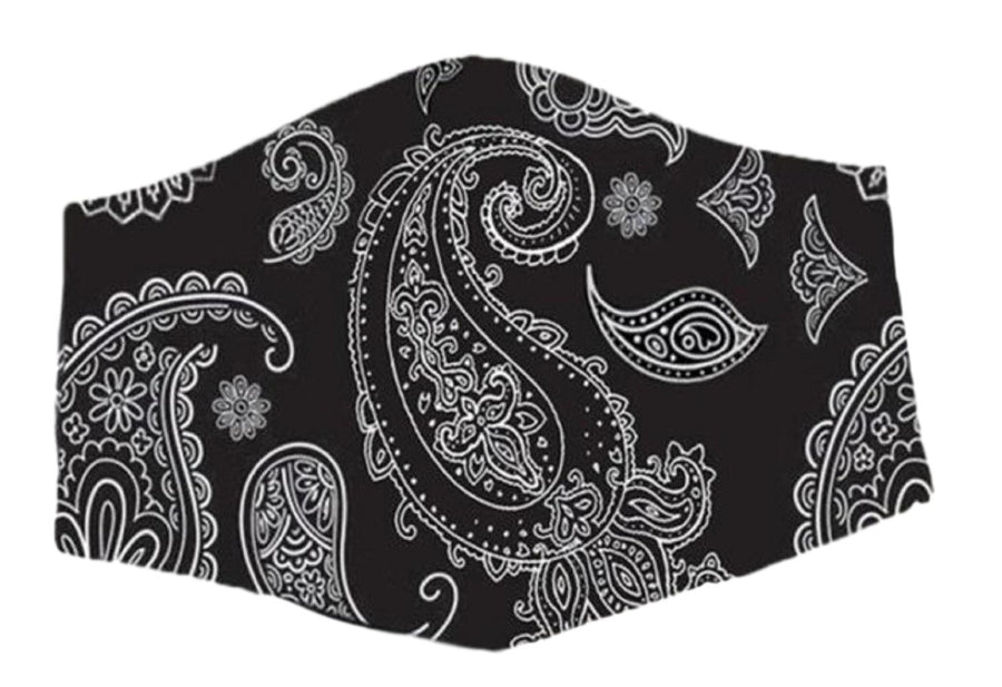 Face Mouth Nose Mask Cover Protection Reusable Cotton Blend Five Layer Filter Adjustable One Size Unisex Paisley Black