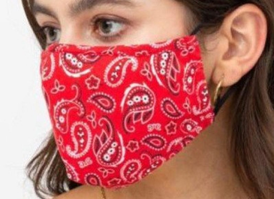 Face Mouth Nose Mask Cover Protection Reusable Cotton Blend Five Layer Filter Adjustable One Size Unisex Paisley Red