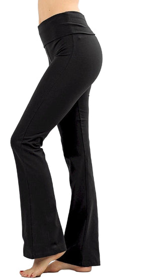 Zenana Women Fold Over Waist Cotton Stretch Flare Leg Boot Cut Yoga Pants Leggings Black