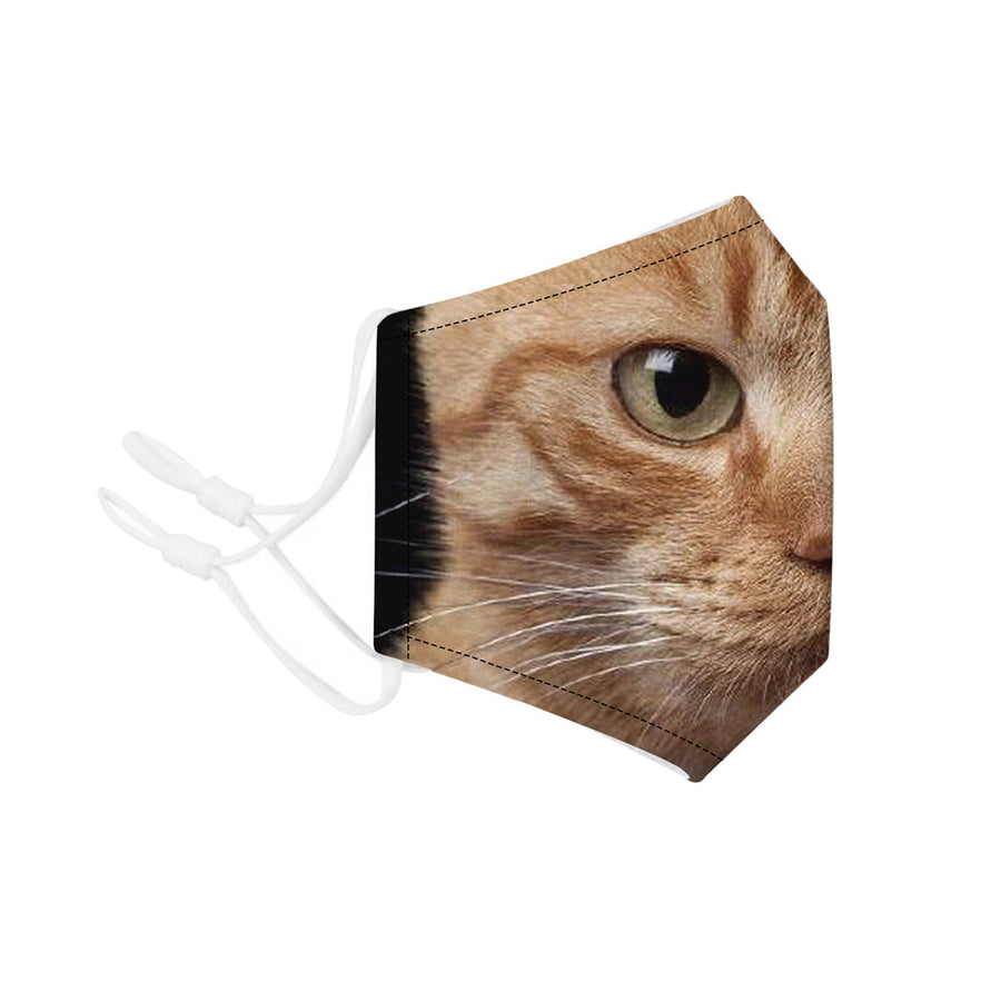 Face Mouth Nose Mask Cover Protection Reusable Cotton Blend Five Layer Filter Adjustable One Size Unisex Kitten Design