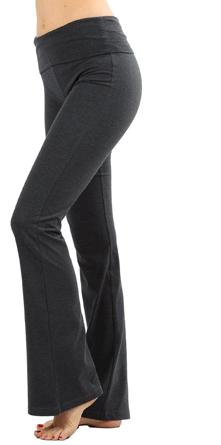 Zenana Women Fold Over Waist Cotton Stretch Flare Leg Boot Cut Yoga Pants Leggings Charcoal