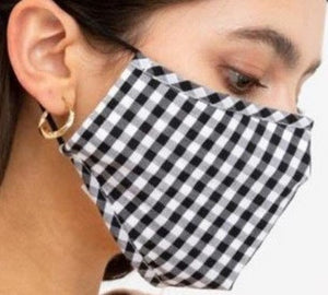 Face Mouth Nose Mask Cover Protection Reusable Cotton Blend Five Layer Filter Adjustable One Size Unisex Checkered Black