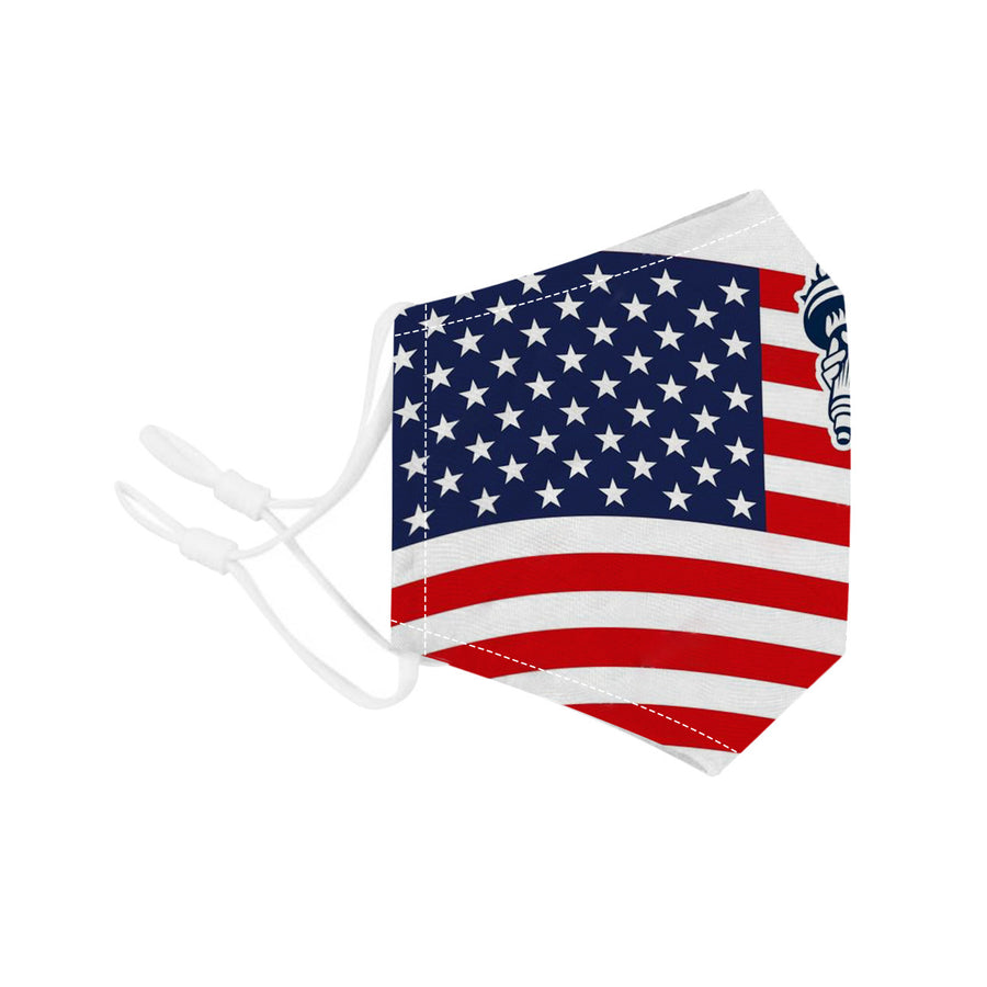 Face Mouth Nose Mask Cover Protection Reusable Cotton Blend Five Layer Filter Adjustable One Size Unisex USA Flag Design