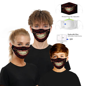 Face Mouth Nose Mask Cover Protection Reusable Cotton Blend Five Layer Filter Included Adjustable One Size Unisex HaHa Design