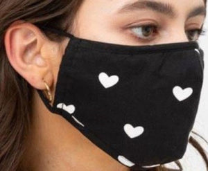 Face Mouth Nose Mask Cover Protection Reusable Cotton Blend Five Layer Filter Adjustable One Size Unisex Hearts Black