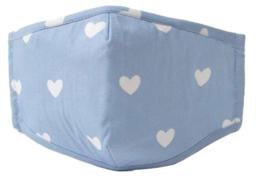 Face Mouth Nose Mask Cover Protection Reusable Cotton Blend Five Layer Filter Adjustable One Size Unisex Hearts Blue