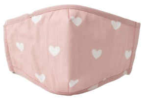 Face Mouth Nose Mask Cover Protection Reusable Cotton Blend Five Layer Filter Adjustable One Size Unisex Hearts Pink
