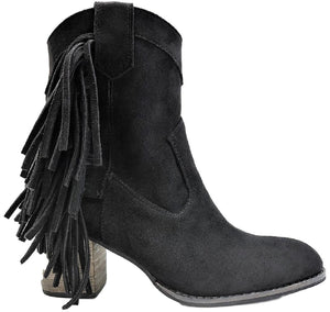 Ivanna-02 Women Western Fringe Side Zipper Block Heel Ankle Boots Black