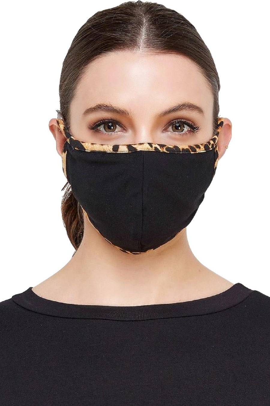 Face Mouth Nose Mask Cover Protection Reusable Cotton Blend Five Layer Filter Adjustable One Size Unisex Black Leopard