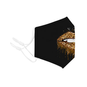 Face Mouth Nose Mask Cover Protection Reusable Cotton Blend Five Layer Filter Adjustable One Size Unisex Sexy Leopard Lips Design