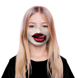 Face Mouth Nose Mask Cover Protection Reusable Cotton Blend Five Layer Filter Included Adjustable One Size Unisex Sexy Red Lips Design