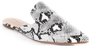 Milly-S1 Women Pointed Toe Slip On Kitten Low Heel Mules Flats Pumps Slides Snake Print Skin