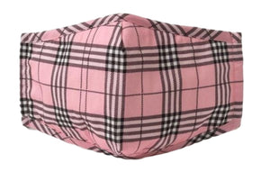 Face Mouth Nose Mask Cover Protection Reusable Cotton Blend Five Layer Filter Adjustable One Size Unisex Plaid Pink