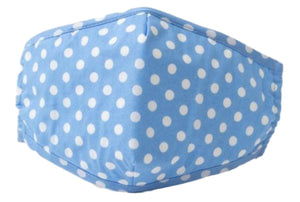 Face Mouth Nose Mask Cover Protection Reusable Cotton Blend Five Layer Filter Adjustable One Size Unisex Polka-Dot Blue