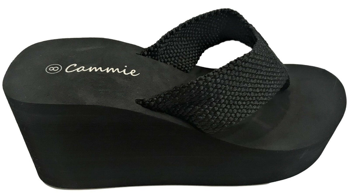 L-2155HH Women High Wedge Platform Slides Flip Flop Open Toe Sandal Black