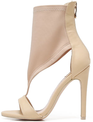 213-20 Ankle High Open Toe Elastic T Strap High Heel Sandal Nude