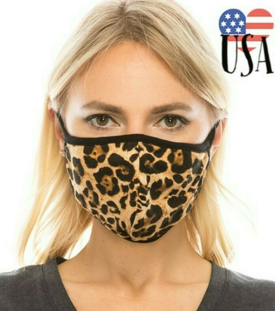 Face Mouth Nose Mask Cover Protection Reusable Cotton Blend Five Layer Filter Adjustable One Size Unisex Leopard