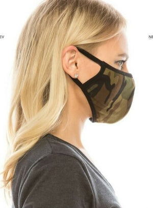 Face Mouth Nose Mask Cover Protection Reusable Cotton Blend Five Layer Filter Adjustable One Size Unisex Camouflage